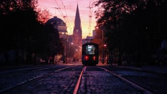 Sunset artistic tram poland poznan wallpaper
