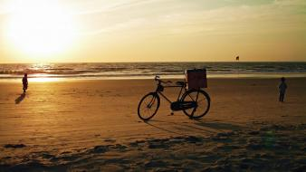 Sunset nature beach bicycles people wallpaper
