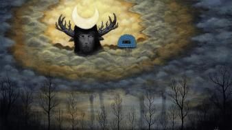 Trees moon artwork faun surreal art andy kehoe wallpaper