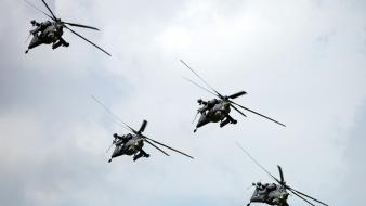 Aircraft aviation mi-28 havoc formation flying Wallpaper