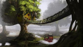 Art boats artwork lily pads tree house wallpaper