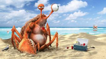 Art drinks crabs soda drinking 3d birds wallpaper