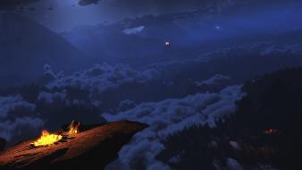 Artwork campfire view skies island world viewscape wallpaper