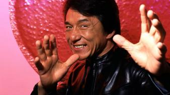 Asians jackie chan smiling actors leather jacket wallpaper