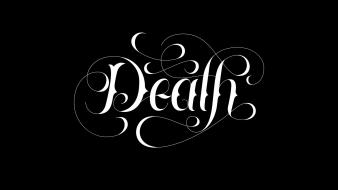 Black and white death minimalistic typography calligraphy background wallpaper