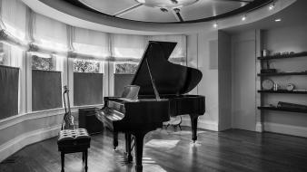Black and white piano instruments wallpaper