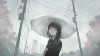 Black eyes short hair monochrome crying umbrellas wallpaper