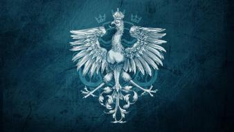 Blue birds symbol coat of arms wallpaper