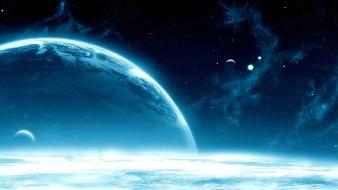 Blue clouds planets gravity wallpaper
