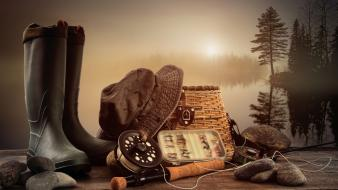 Boots water nature trees rocks fishing hats wallpaper