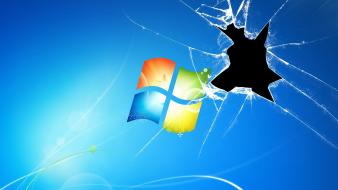 Broken screen microsoft windows blue background wallpaper