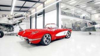 Cars chevrolet corvette hangar classic american wallpaper