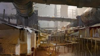 Cityscapes futuristic digital art science fiction artwork slum wallpaper