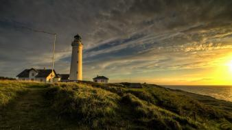 Clouds landscapes nature lighthouses wallpaper