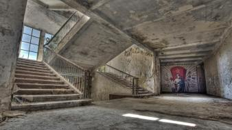 Communism cityscapes graffiti europe stairways abandoned wallpaper