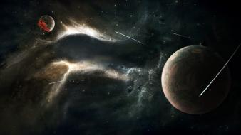Death outer space stars planets digital art wallpaper