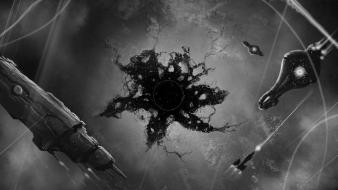 Digital art monochrome science fiction artwork covenant wallpaper