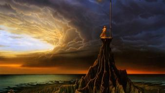 Fantasy art overcast street lights michael whelan Wallpaper