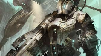 Fantasy guns futuristic armor science fiction artwork wallpaper