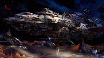 Fantasy outer space planets spaceships wallpaper