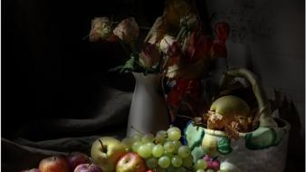 Flowers fruits grapes apples black background wallpaper