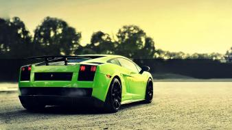 Green cars smoke lamborghini roads vehicles gallardo Wallpaper