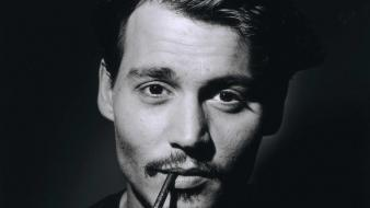 Johnny depp monochrome actors cigarettes portraits wallpaper