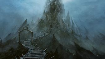 Mountains bridges peaks stairways fantasy art artwork wallpaper