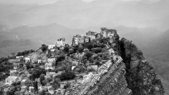 Mountains landscapes nature national geographic grayscale yemen wallpaper