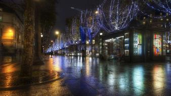 Night lights rain france avenue champs elysées wallpaper