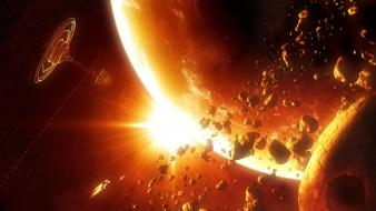 Outer space planets station science fiction asteroids wallpaper