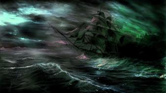 Paintings dark ships fantasy art sea wallpaper