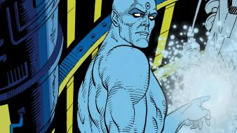 Pointing blue skin dr. manhattan graphic novel wallpaper
