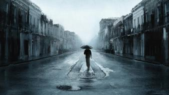 Rain men sad digital art artwork umbrellas wallpaper