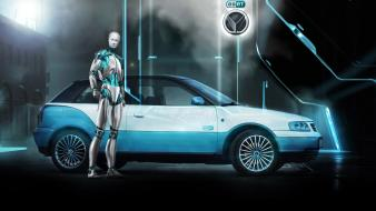 Robots futuristic cars vehicles eset wallpaper