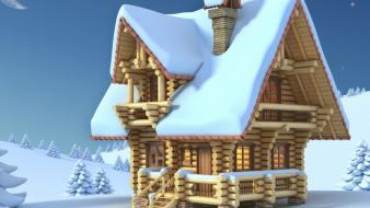 Snow moon houses seasons christmas trees homes Wallpaper