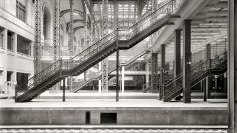 Stairways new york city train stations grayscale wallpaper