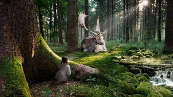 Trees forest animals digital art wallpaper
