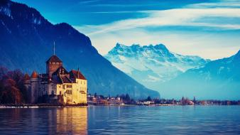 Water mountains landscapes houses switzerland cities Wallpaper