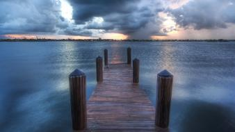 Water sunset nature pier lakes wallpaper