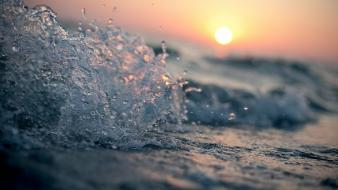Water sunset waves wallpaper