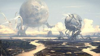 Worlds science fiction desktopography rivers moons birds Wallpaper