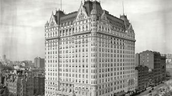 York city grayscale historical hotels fifth ave wallpaper