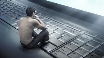 Abstract computers keyboards men thinking sitting Wallpaper