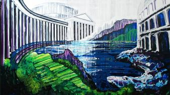 Acropolis temple traditional art acrilyc amy shackleton Wallpaper