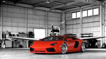 Aircraft cars orange lamborghini aventador hangar Wallpaper