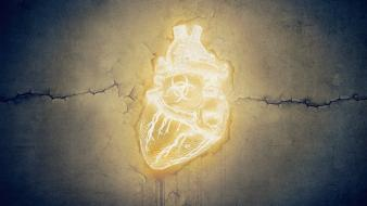 Biohazard grunge glowing hearts cracks symbols neon wallpaper