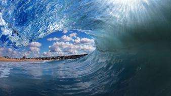 Blue ocean beach waves tropical clark little wallpaper