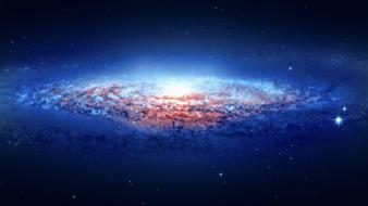 Blue outer space stars galaxies lynx wallpaper