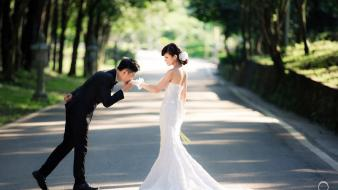 Brides couple wedding dresses wallpaper